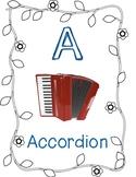 Instrument Alphabet - Music Class! (Black and White Theme)