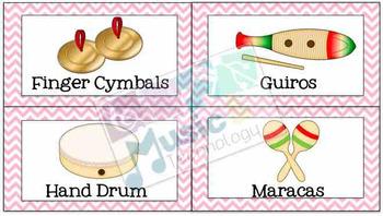 Classroom Instrument Bin Labels- Pastel Chevron Borders