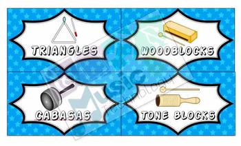 Classroom Instrument Bin Labels- Superhero Theme
