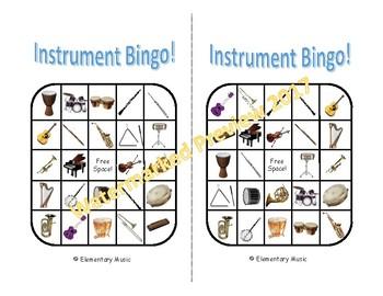 Music Instrument Bingo