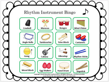 Music Bingo {Rhythm Instrument Game}