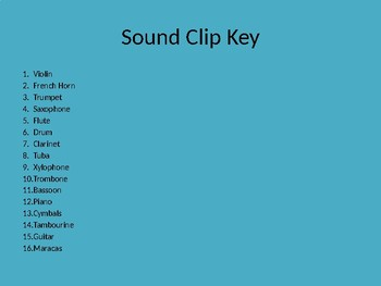 Instrument Bingo Sound Clips
