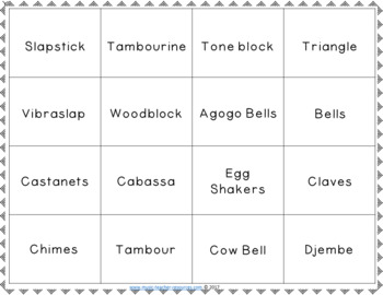 Music Bingo:  Untuned Percussion Music Bingo