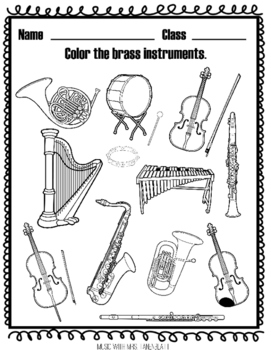 instrument families coloring by music with mrs tanenblatt tpt. Black Bedroom Furniture Sets. Home Design Ideas