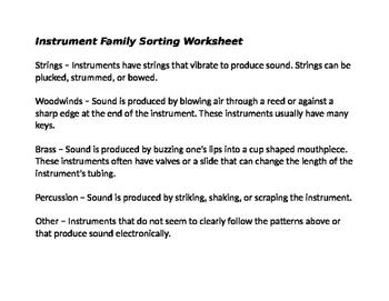 Instrument Families Sorting Worksheet