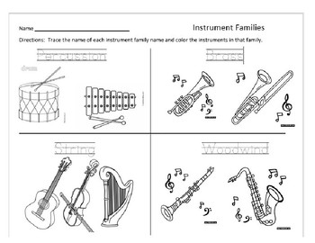 Instrument Families Tracing ad Coloring sheet