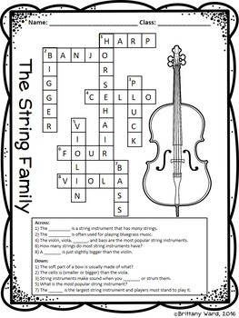 Instrument Families - Worksheets | TpT