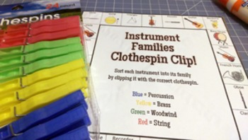 Instrument Family Clothespin Clip Freebie!