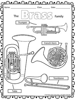 Instrument Family Coloring Sheets 12 Pages Tpt