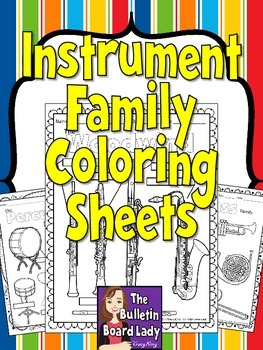 Instrument Family Coloring Sheets -12 pages