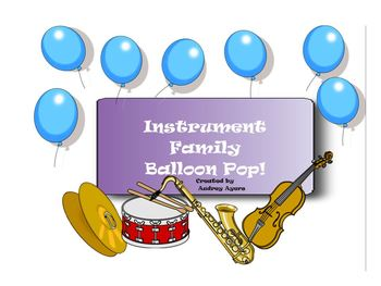 Instrument Family Smart Board Interactive Activity- Balloon Pop