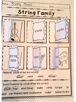 Instrument Family Window Worksheets (Matching)