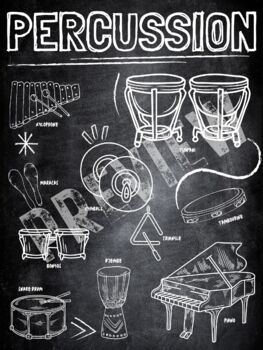 Instrument Family poster- Percussion (Chalkboard theme)