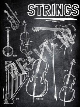 Instrument Family poster- Strings (Chalkboard theme)