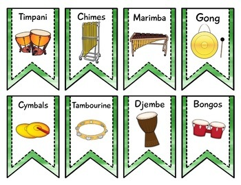 Instrument Flags - Bunting for the Music Classroom - Brush Strokes
