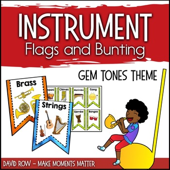 Instrument Flags - Bunting for the Music Classroom - Gem Tones