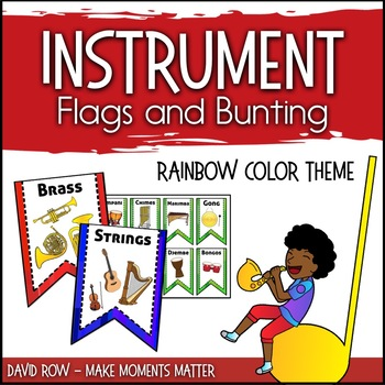 Instrument Flags - Bunting for the Music Classroom - Rainbow Bright Colors