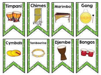 Instrument Flags - Bunting for the Music Classroom - Bright Colors