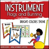 Instrument Flags - Bunting for the Music Classroom - Bright Basic Colors