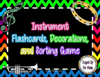 Instrument Flashcards, Decorations, and Sorting Games - Dark Rainbow Chevrons