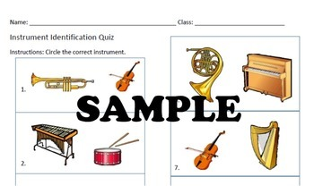 ORCHESTRA TEST - Instrument Identification Assessment Music Printable PDF Format