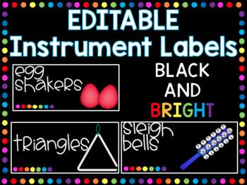 EDITABLE Instrument Labels-Black & Bright