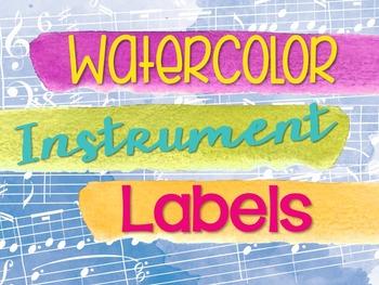 Instrument Labels - Watercolor Theme Music Room Decor