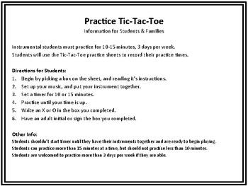 Instrument Practice Tic Tac Toe Board