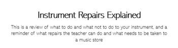 Instrument Repair Explanation Sheet