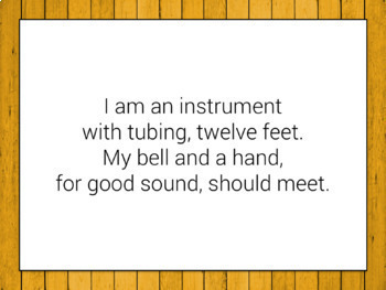 Instrument Riddles: activities and games for instrument review