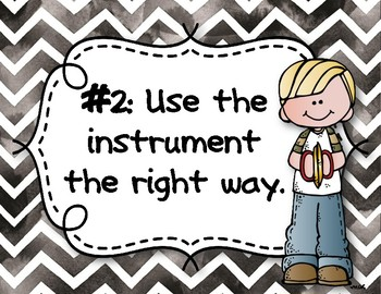 Instrument Rules for Elementary Music Class - Black Watercolor Chevron
