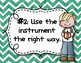 Instrument Rules for Elementary Music Class - Green Watercolor Chevron
