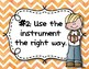 Instrument Rules for Elementary Music Class - Orange Watercolor Chevron