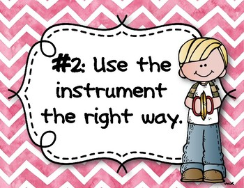Instrument Rules for Elementary Music Class - Pink Watercolor Chevron
