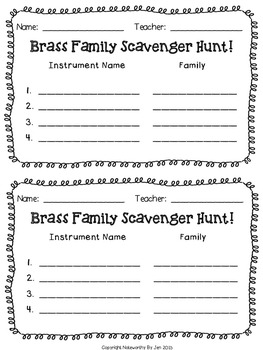 Instrument Scavenger Hunt:  QR Code Activity for Music--BRASS #tptmusiccrewfree