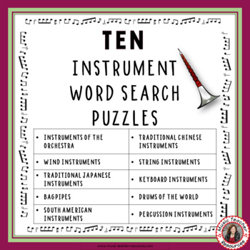 Music Games: Musical Instruments: TEN Instrument Word Search Puzzles