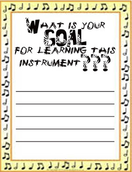 Instrument learning Goal Setting Page