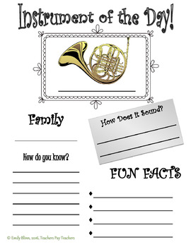 Instrument of the Day Graphic Organizer Bundle