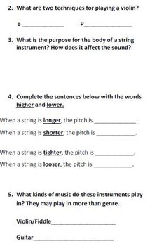 Instrumental Classmates: Strings Worksheet