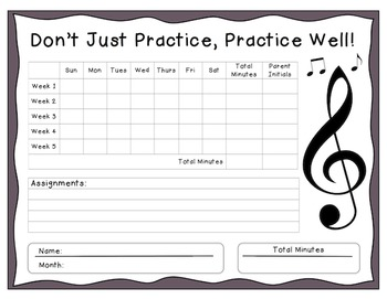 Instrumental Monthly Music Practice Chart