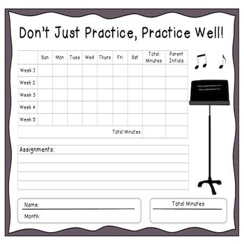 Instrumental Monthly Music Practice Chart By Music Is Elementary