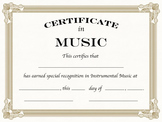 Instrumental Music Certificates, Formal