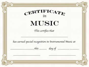 instrumental music certificates formal by sillyomusic tpt