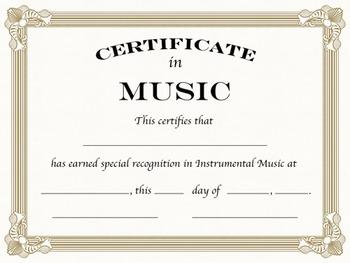Instrumental Music Certificates, Formal