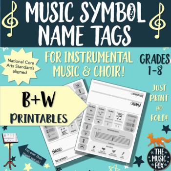 Instrumental Music & Choir Music Symbols Name Tags *B&W*  (Grades 1-8)
