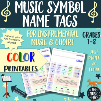 Instrumental Music & Choir Music Symbols Name Tags *COLOR*  (Grades 1-8)