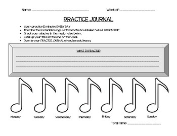 Instrumental Practice Journal - Monday