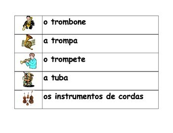 Instrumentos musicais (Musical instruments in Portuguese) word wall