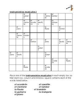 Instrumentos musicales (Musical Instruments in Spanish) Sudoku