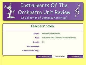 Instruments Of The Orchestra Unit Review - A Collection of Games & Activities